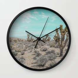 Teal Desert Sky // Cactus Landscape Photography Sierra Nevada USA Cloud Dusted Sky Wall Clock