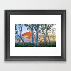 grazing goldfish Framed Art Print