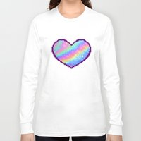 holographic Long Sleeve T-shirts featuring Holographic Heart by Sombras Blancas Art & Design