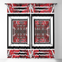 NUMBER 221 RED BLACK GRAY WHITE PATTERN Blackout Curtain