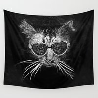 black cat Wall Tapestries featuring Black Cat by PhotoStories