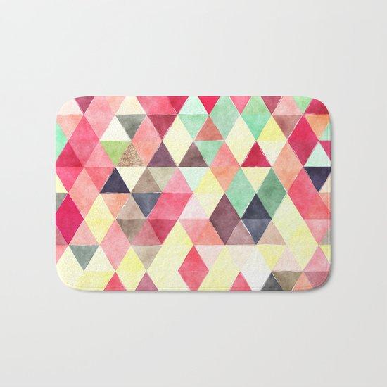 Retro Triangles Pattern 02 Bath Mat