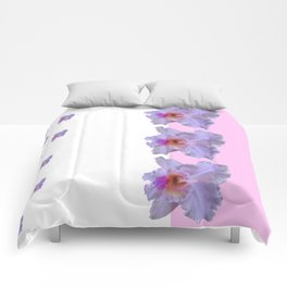 TROPICAL PURPLE CATTLEYA ORCHIDS WHITE-PINK ART Comforters