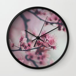 Pink Cherry Blossom On Branch Wall Clock