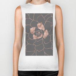 Rosegold  blossom on grey - Pink metal - effect flower Biker Tank