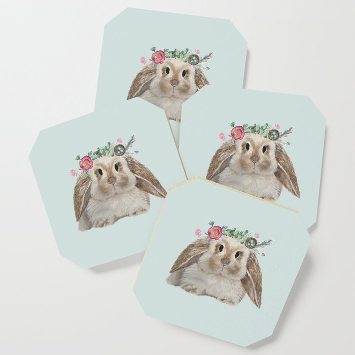 Spring Bunny with Floral Crown Coaster