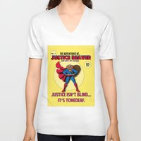 beaver V-neck T-shirts featuring Justice Beaver by Alex Dutton