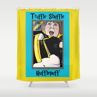 hufflepuff Shower Curtains featuring Truffle Shuffle Hufflepuff by Portraits on the Periphery