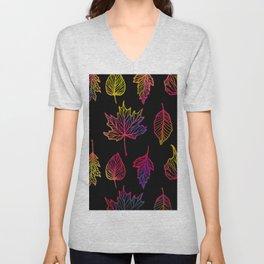 Colorful Autumn Leaf Unisex V-Neck