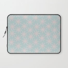 Merry christmas - Knit pink snowflakes and snow on aqua background Laptop Sleeve