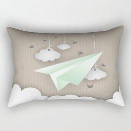 Green Paper Plane Rectangular Pillow