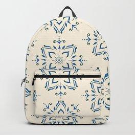 Portuguese tile style ornamental pattern - blue on cream Backpack