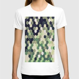 Honeycomb Pattern In Peppermint Green and Black T-shirt