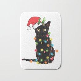Santa Black Cat Tangled Up In Lights Christmas Santa T-Shirt Bath Mat