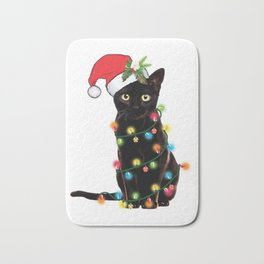 Santa Black Cat Tangled Up In Lights Christmas Santa T-Shirt Bath Mat