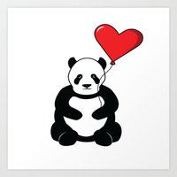 Panda With Heart Balloon Art Print