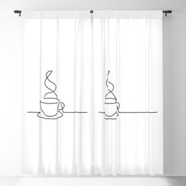 Single Line Coffee Cup Illustration Blackout Curtain