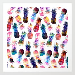 watercolor and nebula pineapples illustration pattern Art Print