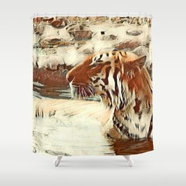 Warm colored Animal swimming tiger Shower Curtain
