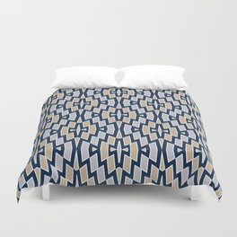 Tribal Diamond Pattern in Navy, Tan and Gray Duvet Cover