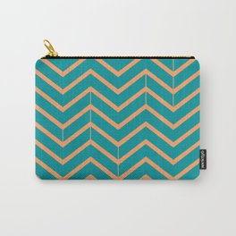 Viridian and Papaya Zigzags Carry-All Pouch
