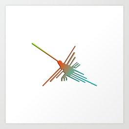Colorful 3D Nazca Lines Hummingbird Art Print