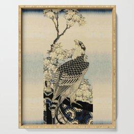 Hokusai -falcon next to a plum tree in bloom - 葛飾 北斎,hawk,bird. Serving Tray