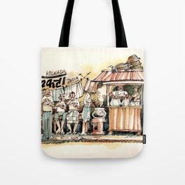 Kolkata India Sketch in Watercolor | City View | Street Food Stall | Calcutta West Bengal Tote Bag