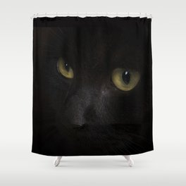 Black cat with yellow eyes Shower Curtain
