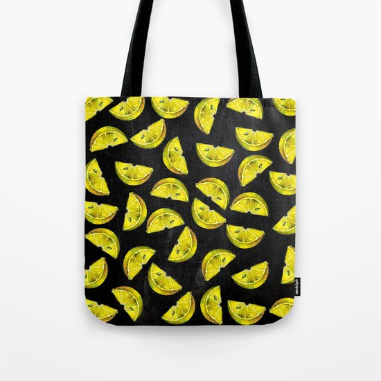 Lemon Slices Pattern Chalkboard Tote Bag