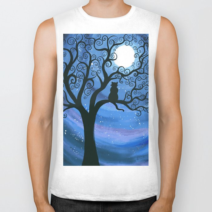Meowing at the moon - moonlight cat painting Biker Tank
