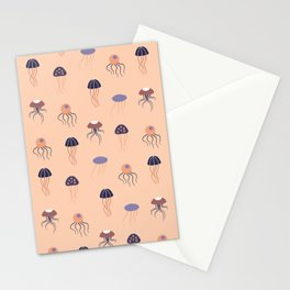 Purple and orange jellyfish in a seamless pattern design Stationery Cards