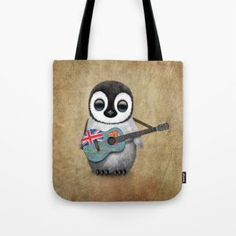 Baby Penguin Playing Fiji Flag Acoustic Guitar Tote Bag