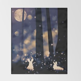 MOONLIGHT BUNNIES Throw Blanket