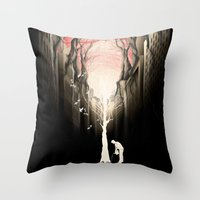 city Throw Pillows featuring Revenge of the nature II: growing red forest above the city. by Rafapasta