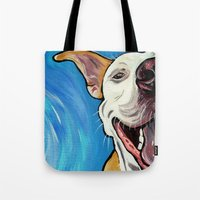 pit bull Tote Bags featuring Smiling Pit Bull  by WOOF Factory