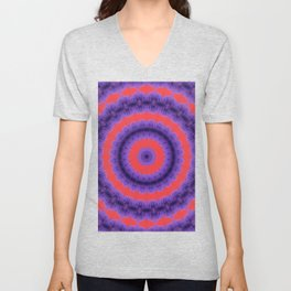 Purple And Red Circles Pattern Unisex V-Neck