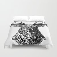 ornate elephant Duvet Covers featuring Ornate Buck by BIOWORKZ