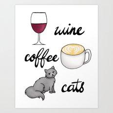 Wine Coffee Cats Art Print