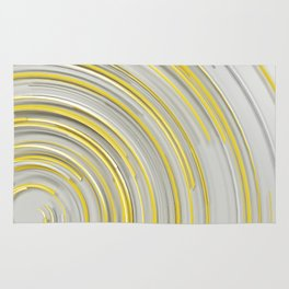 Glowing yellow concentric spirals on white Rug