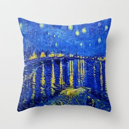 Starry Night Over Rhone Throw Pillow