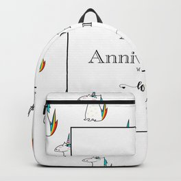 Happy Anniversary unicorn design Backpack