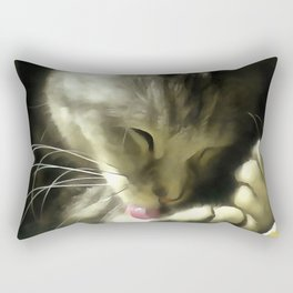 Soft And Gentle Fur And Purr Of A Grey Cat Rectangular Pillow