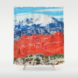 Pikes Peak Behind the Garden of the Gods Shower Curtain