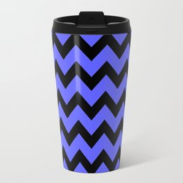 Chevron (Black & Blue Pattern) Travel Mug