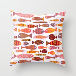School of tropical fish pattern Throw Pillow