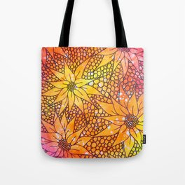 Black flowers on neon painting Tote Bag