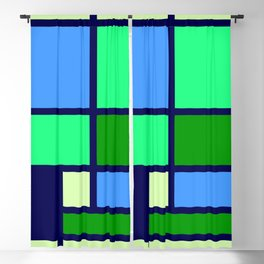 Mondrianista green blue Blackout Curtain