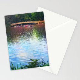Central Park Boats on Rainbow Waters Stationery Cards