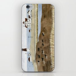 Seashore lighthouse and wild horses iPhone Skin